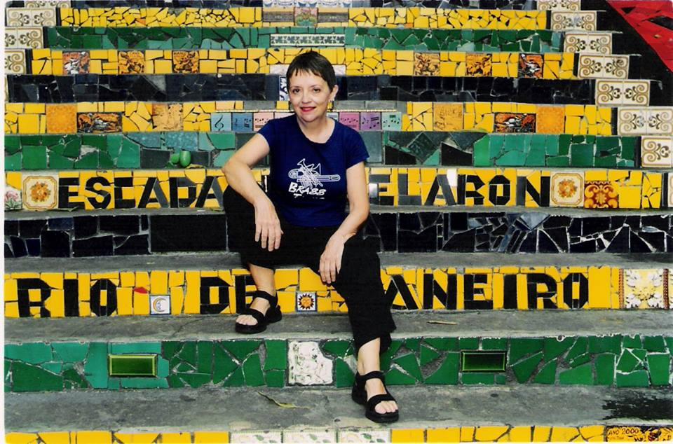 January 2006 - Amy Duncan sitting on the famous Santa Teresa steps in Rio de Janeiro