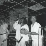 1989 - singer George Silva pandeirista Ivo Araújo performing with samba band Kilombo dos Palmares at the Symphony Space New York City